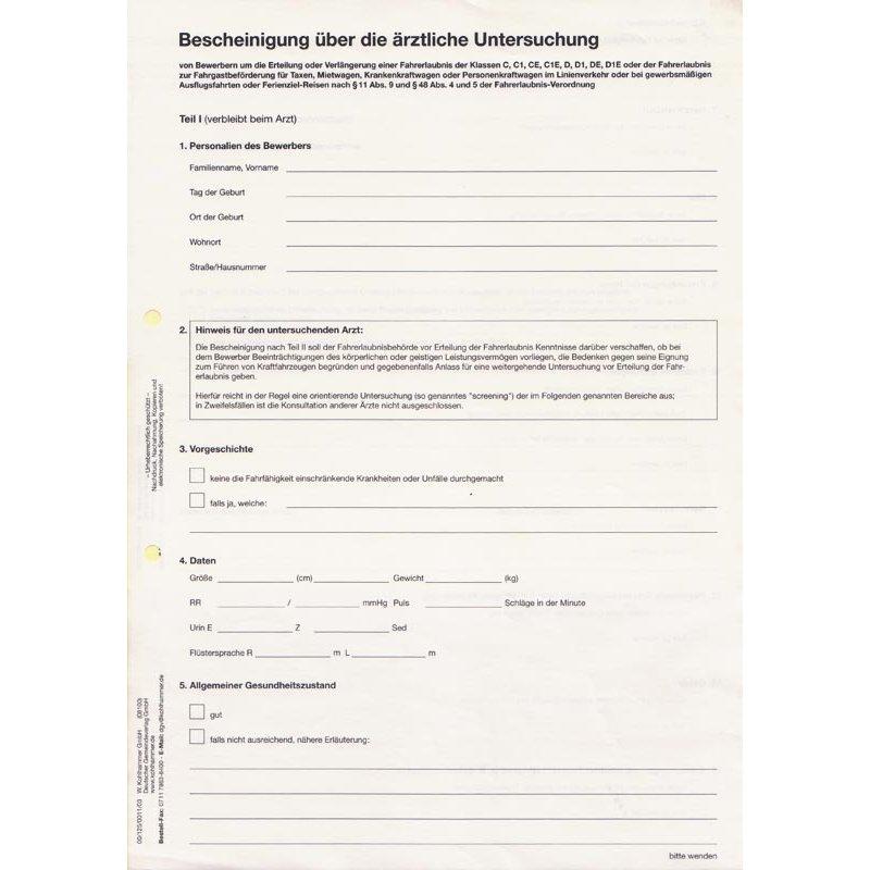 Bescheinigung über die ärztliche Untersuchung, DIN A4, SD-Papier*,