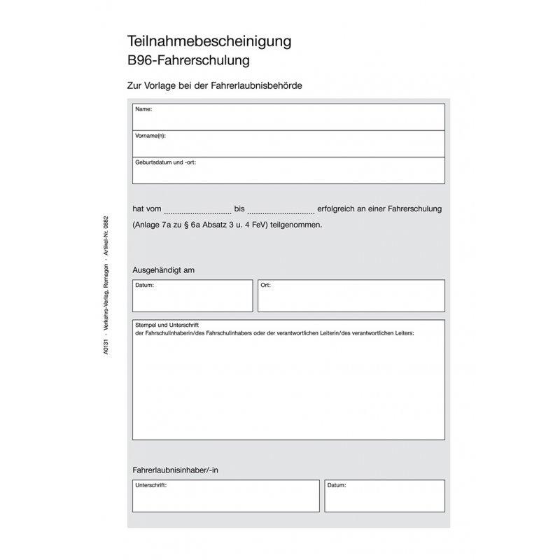 Teilnahmebescheinigung B96, DIN A5,